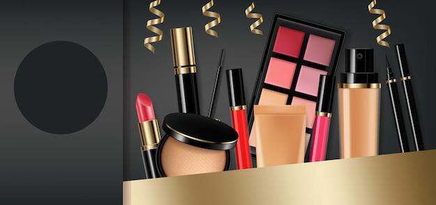 Cosmetics eye shadow, lip gloss and powder blush collection Premium Vector