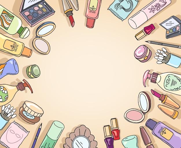 化粧品手描き上面図フレームベクトル。フレームファッション、メイクアップ化粧品、ブラシアイシャドウ手描きイラスト 無料ベクター