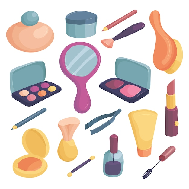Cosmetics icons set. cartoon illustration of 16 cosmetics icons for web Premium Vector