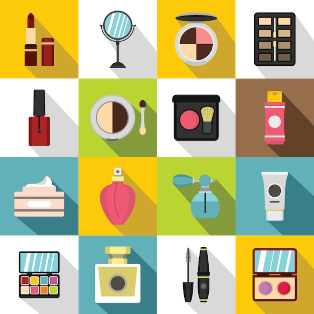 Cosmetics icons set, flat style Premium Vector