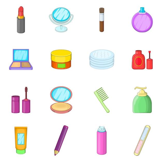 Cosmetics items icons set Premium Vector