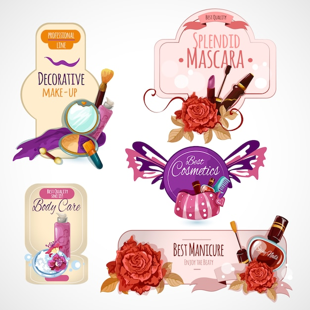 Cosmetics label set Free Vector