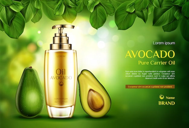 Cosmetics oil avocado. organic product bottle with pump on green blurred with tree leaves. Free Vector