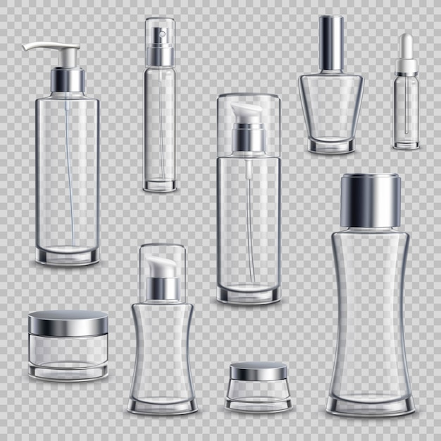 Cosmetics package realistic transparent set Free Vector