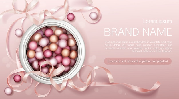 Cosmetics pearls with ribbon Free Vector
