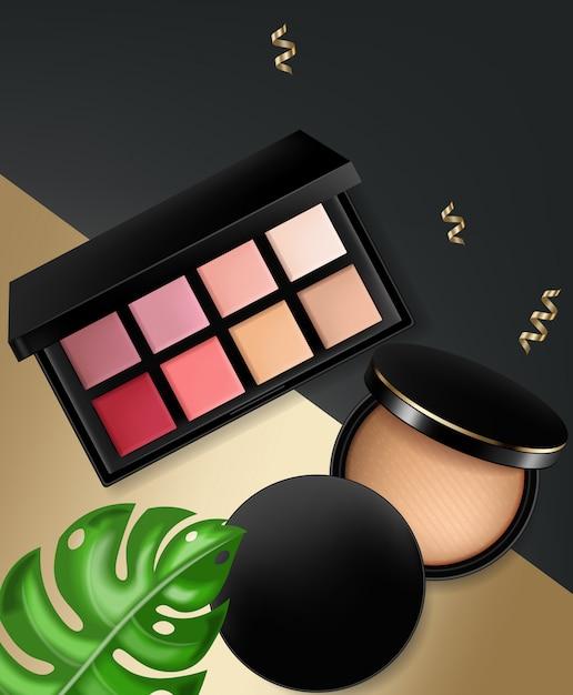 Cosmetics and powder blush collection Premium Vector
