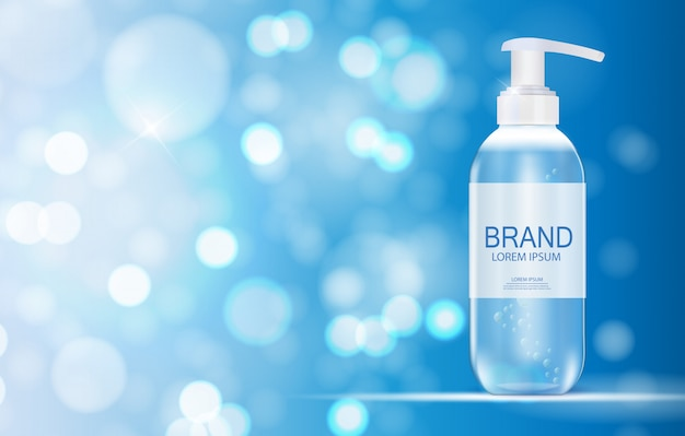Cosmetics product  template for ads or magazine background. antibacterial gel, soap bottle  realistic  illustration Premium Vector