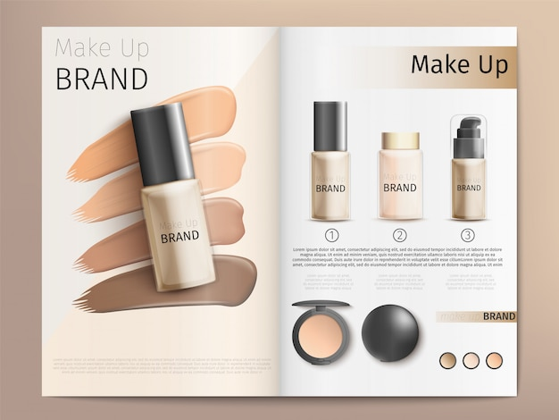 Cosmetics products catalog or brochure template Premium Vector