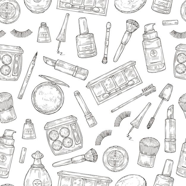 化粧品。まつげ、口紅、香水、パウダー、化粧筆。マニキュア、ファンデーション、ピンセットがシームレスなパターンを落書き Premiumベクター