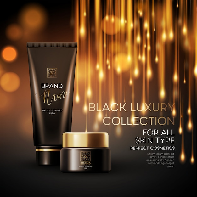 Cosmetics products with luxury collection composition on  blurred bokeh background. Premium Vector