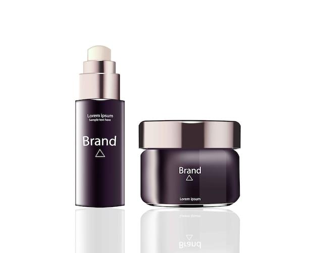 Cosmetics set package vector realistic mock up Premium Vector