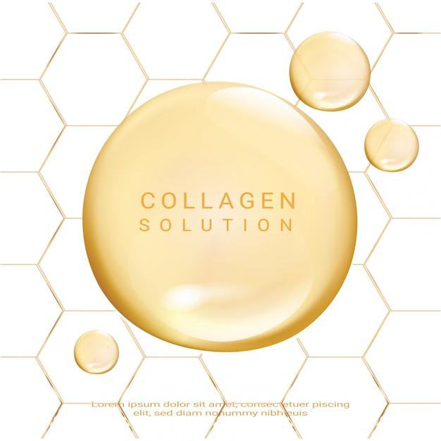 化粧品ソリューション。最高のコラーゲンエッセンス。 Premiumベクター