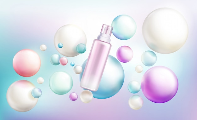 Cosmetics spray bottle, beauty cosmetic tube with pump cap Free Vector