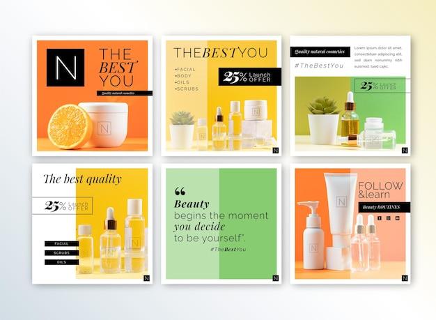Cosmetics store instagram posts template Premium Vector