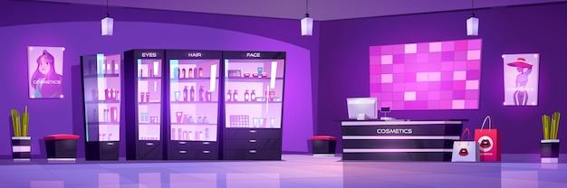 Negozio di cosmetici negozio di bellezza interno, trucco o cura del corpo con flaconi per la cosmetica sugli scaffali della vetrina, banco cassa con computer e poster di moda sul muro Vettore gratuito