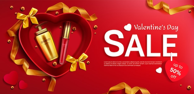 Cosmetics valentine day sale red background Free Vector