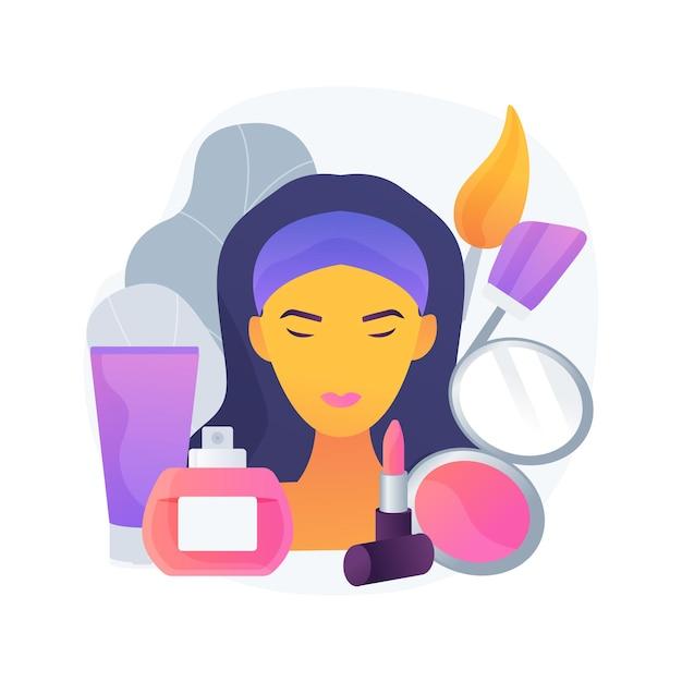 Illustrazione di vettore di concetto astratto di cosmetologia. cura della pelle, cosmetici naturali, lifting degli occhi, rimozione delle rughe, dermatologia, spa, trattamento del viso, bellezza della donna, metafora astratta della terapia anti-età. Vettore gratuito