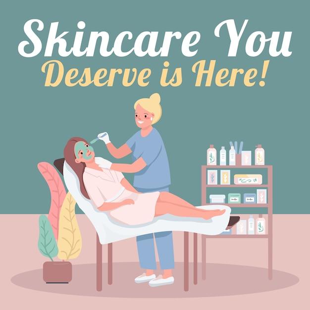 Cosmetology social media post mockup. Premium Vector