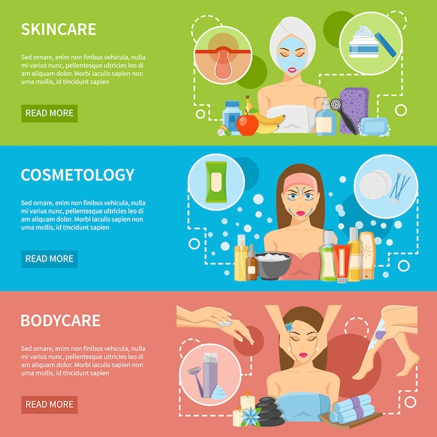 Cosmetology and spa procedures horizontal banners Free Vector