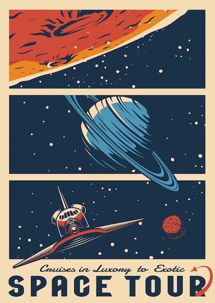 Cosmic journey vintage colorful poster Premium Vector