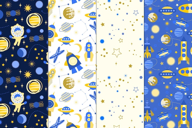 Cosmic pattern collection Free Vector