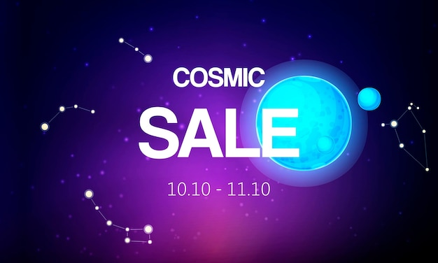 Cosmic sale banner vector illustration. spaceship travel to new planets galaxies. Premium Vector