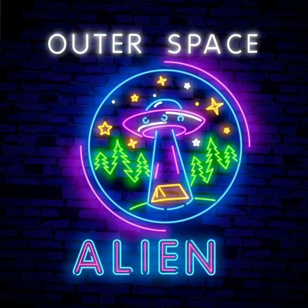 Cosmic theme in neon style Premium Vector