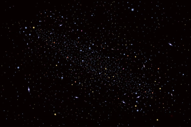 우주, 갤럭시, 태양, 행성 및 별과 우주론 그림. 초대 또는 소책자에 사용할 수 있습니다. 깊이와 공간 배경으로 미래의 전망 프리미엄 벡터