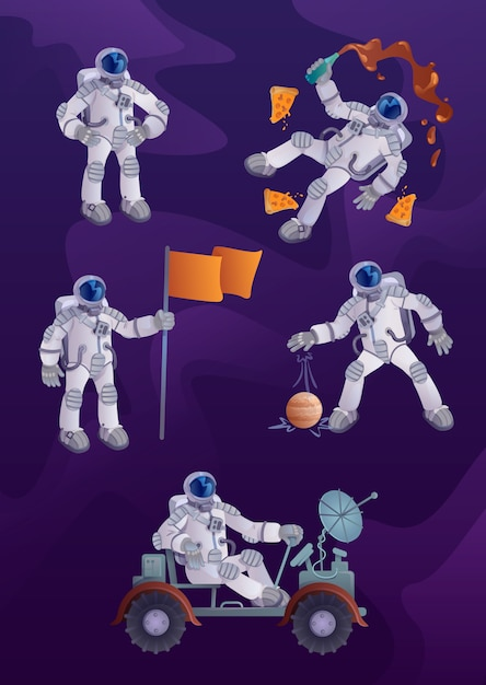 Cosmonaut  cartoon character illustrations kit. astronaut in spacesuit, space exploration, human spaceflight. ready to use one comic  hero set templates for commercial, animation, printing Premium Vector