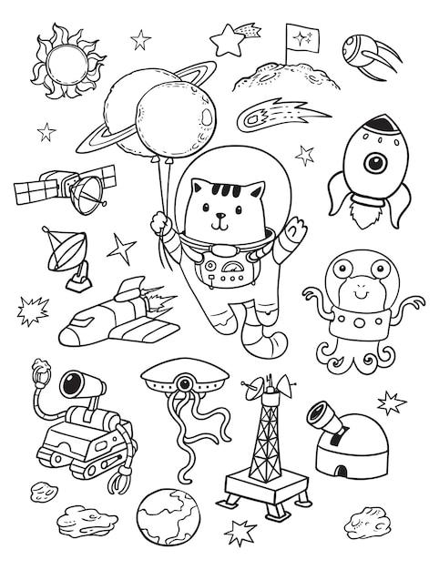 Cosmonaut cat in space doodle Premium Vector