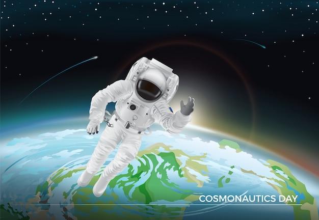 Cosmonautics day. vector illustration of flying cosmonaut in white suit in space. planet earth Premium Vector