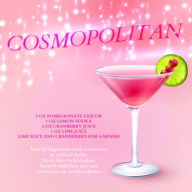 Free Vector Cosmopolitan Cocktail Recipe