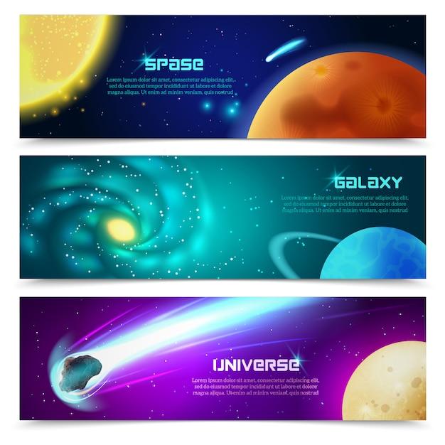 Cosmos galaxy banners set Free Vector