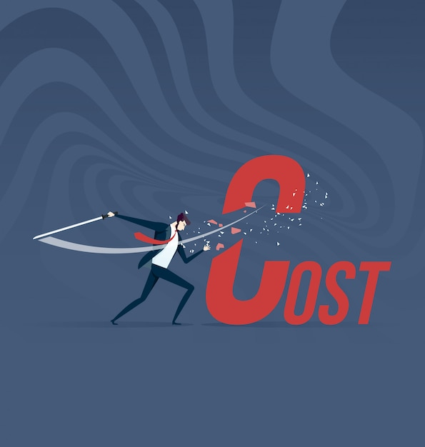 Cost cutting. businessman cut cost word with sword Premium Vector