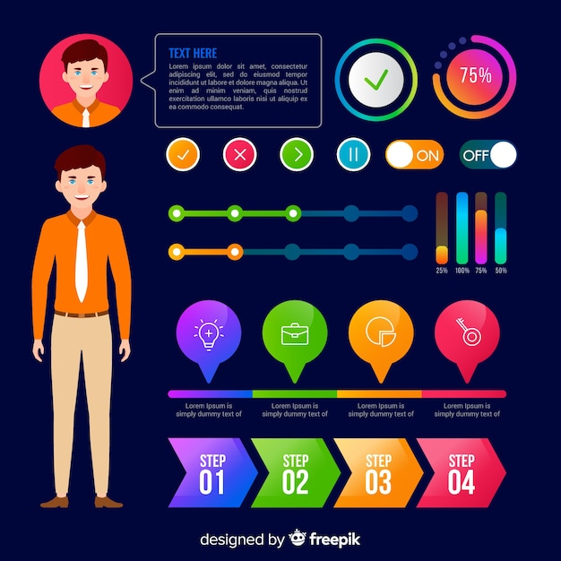Costumer profile infographic Free Vector