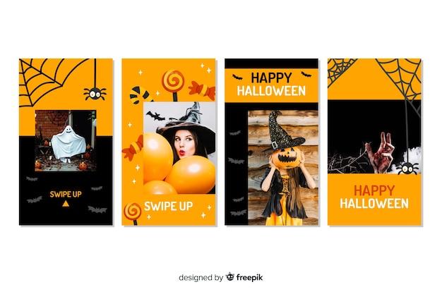 Costumes and decor halloween instagram stories Free Vector