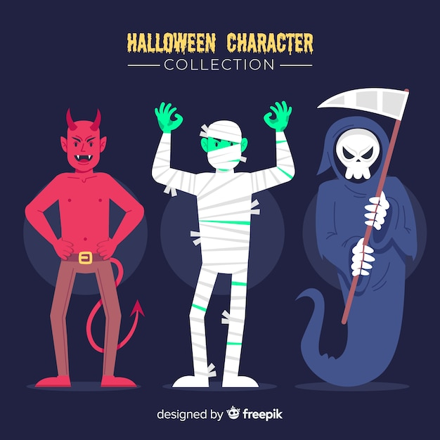 Costumes for young adult flat halloween character collection Free Vector