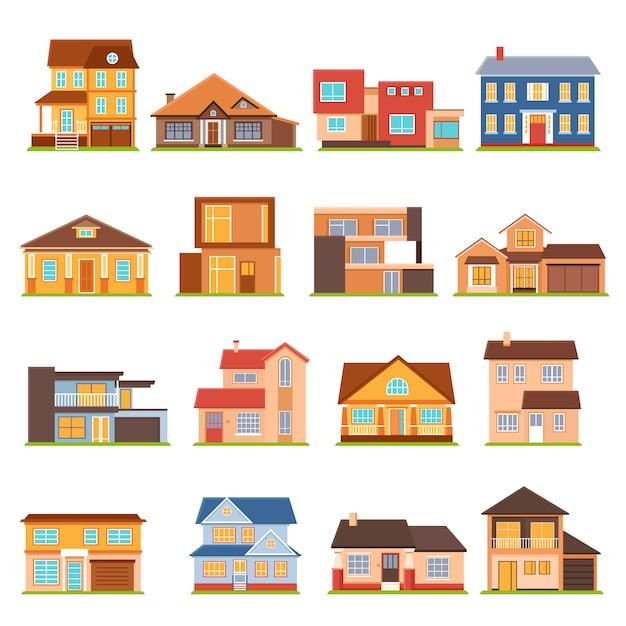 Комплект коттеджного домостроения Бесплатные векторы