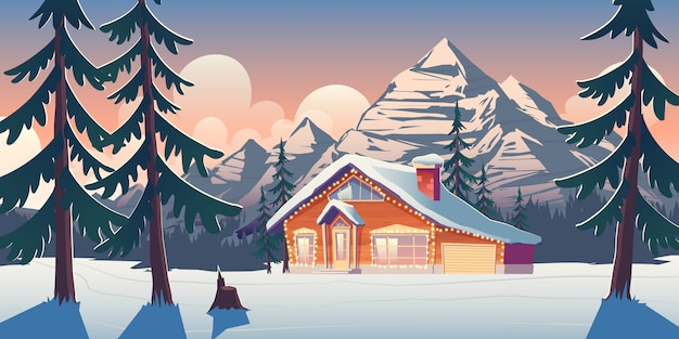 Cottage house in winter mountains cartoon illustration Free Vector