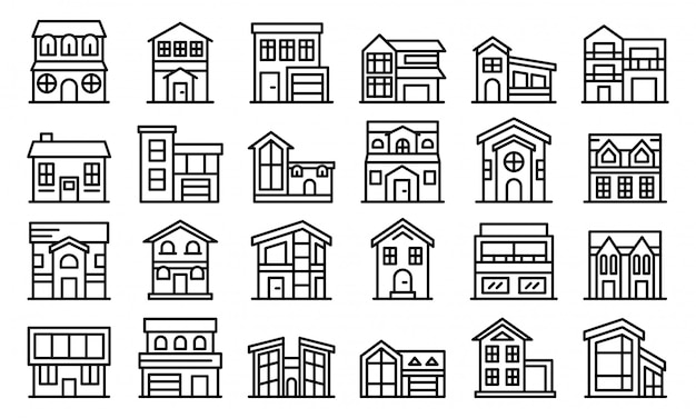 Cottage icons set, outline style Premium Vector