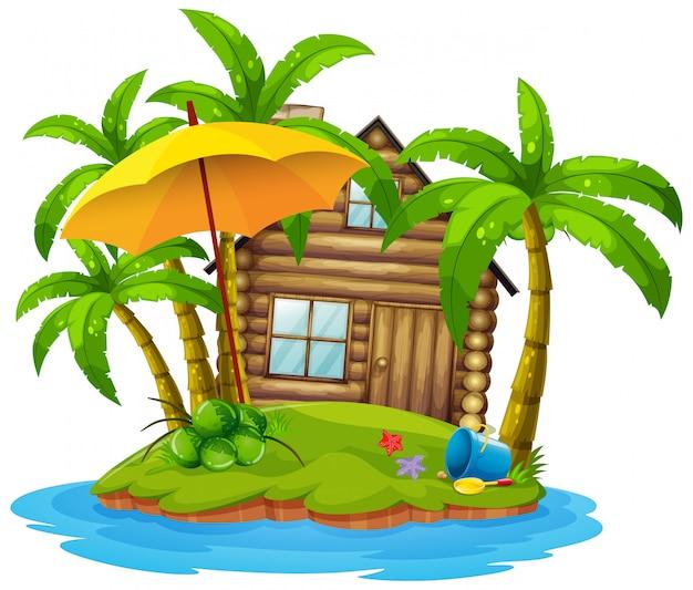 Cottage sull'isola Vettore gratuito