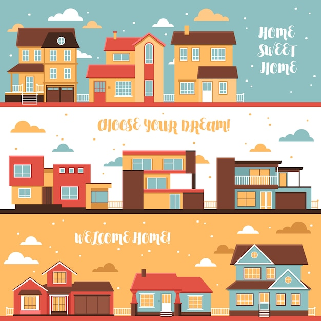 Cottage and village houses horizontal banners Free Vector