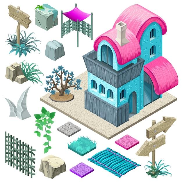 코티지 및 정원 요소 디자인. 프리미엄 벡터