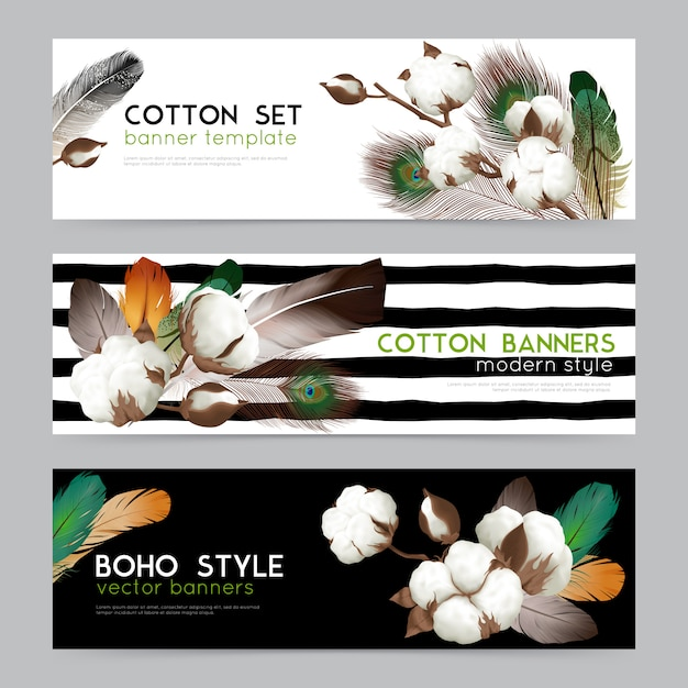 Cotton bolls with feathers boho style Free Vector