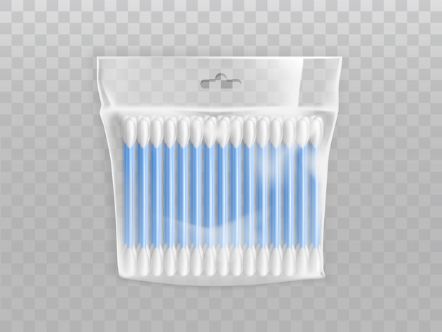 Cotton buds or swabs in blank plastic packet with hang hole Free Vector