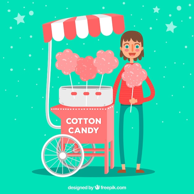 Cotton candy cart and smiley boy