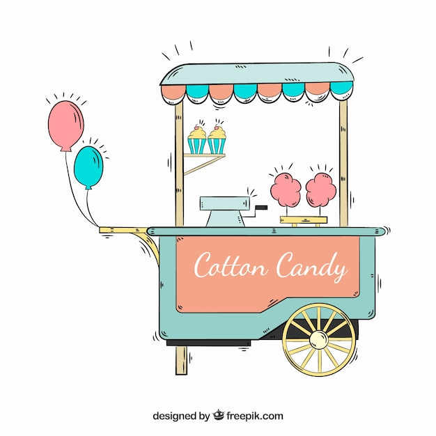 Cotton candy cart with balloons