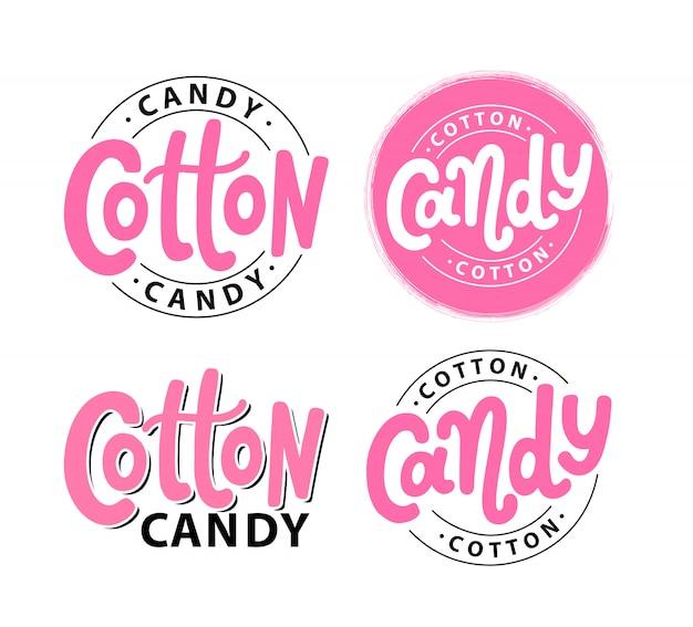 Cotton candy. lettering logo set Premium Vector