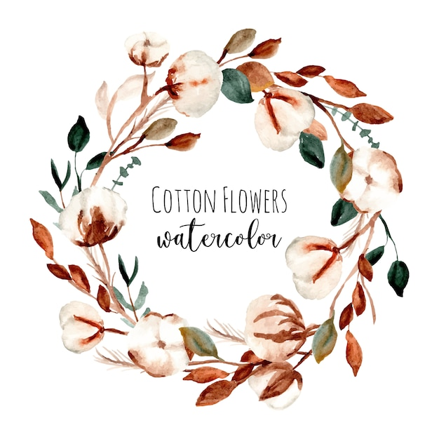 Cotton flower frame watercolor wreath Premium Vector