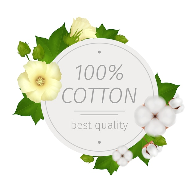 Cotton flower realistic round composition with best quality description and flowers around Free Vector